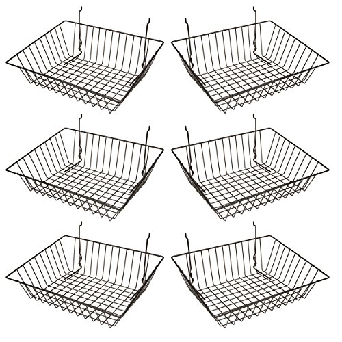 Econoco - Black Multi-Fit Sloping Wire Basket for Slatwall, Pegboard or Gridwall (Set of 6) Metal Semi-Gloss Basket, Black by Econoco