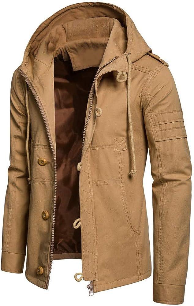 Balakie Mens Winter Solid Coats Trend Buckle Drawstring Hooded Jackets Workwear