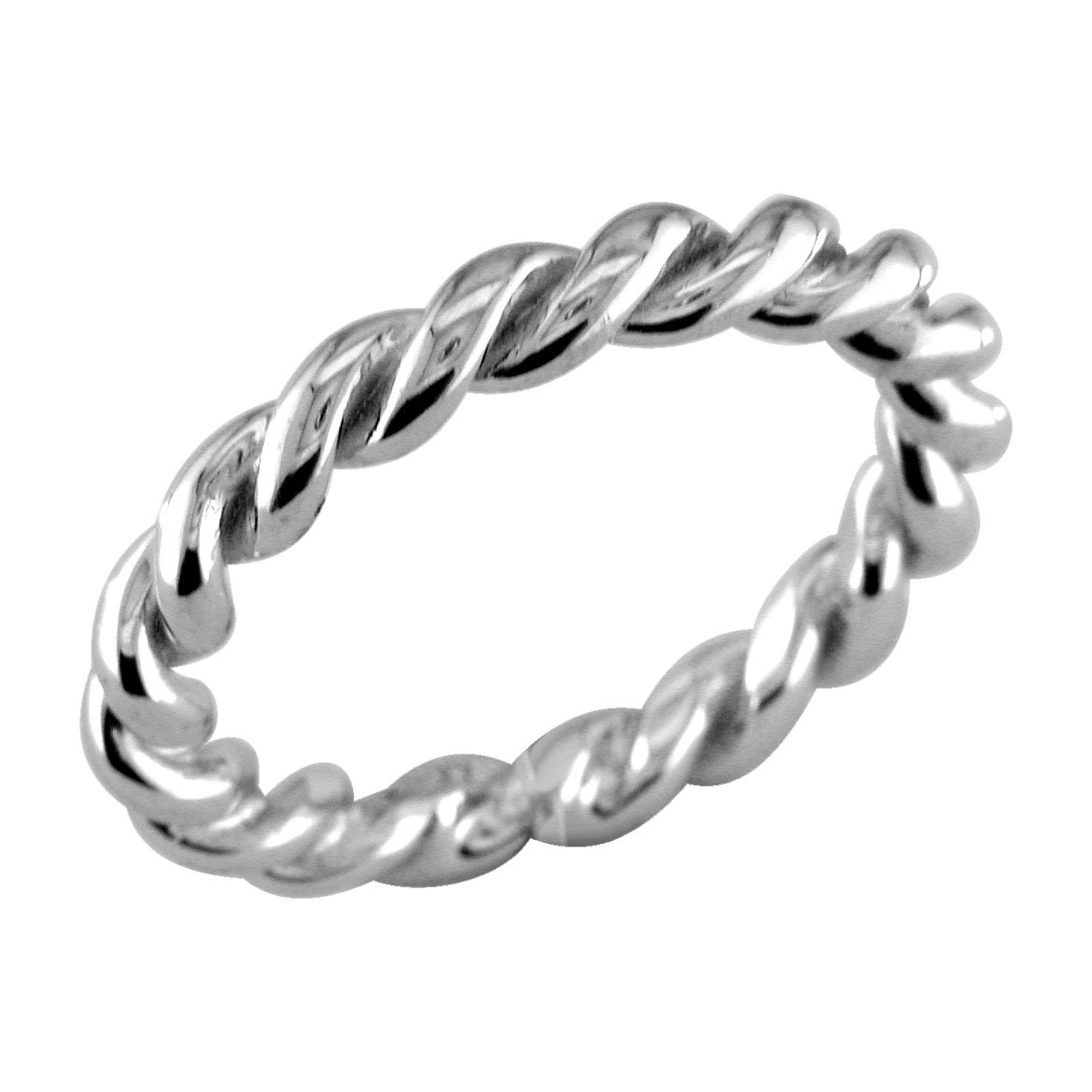 Stackable Ladies Rope Ring with Black in Sterling Silver size 8.5