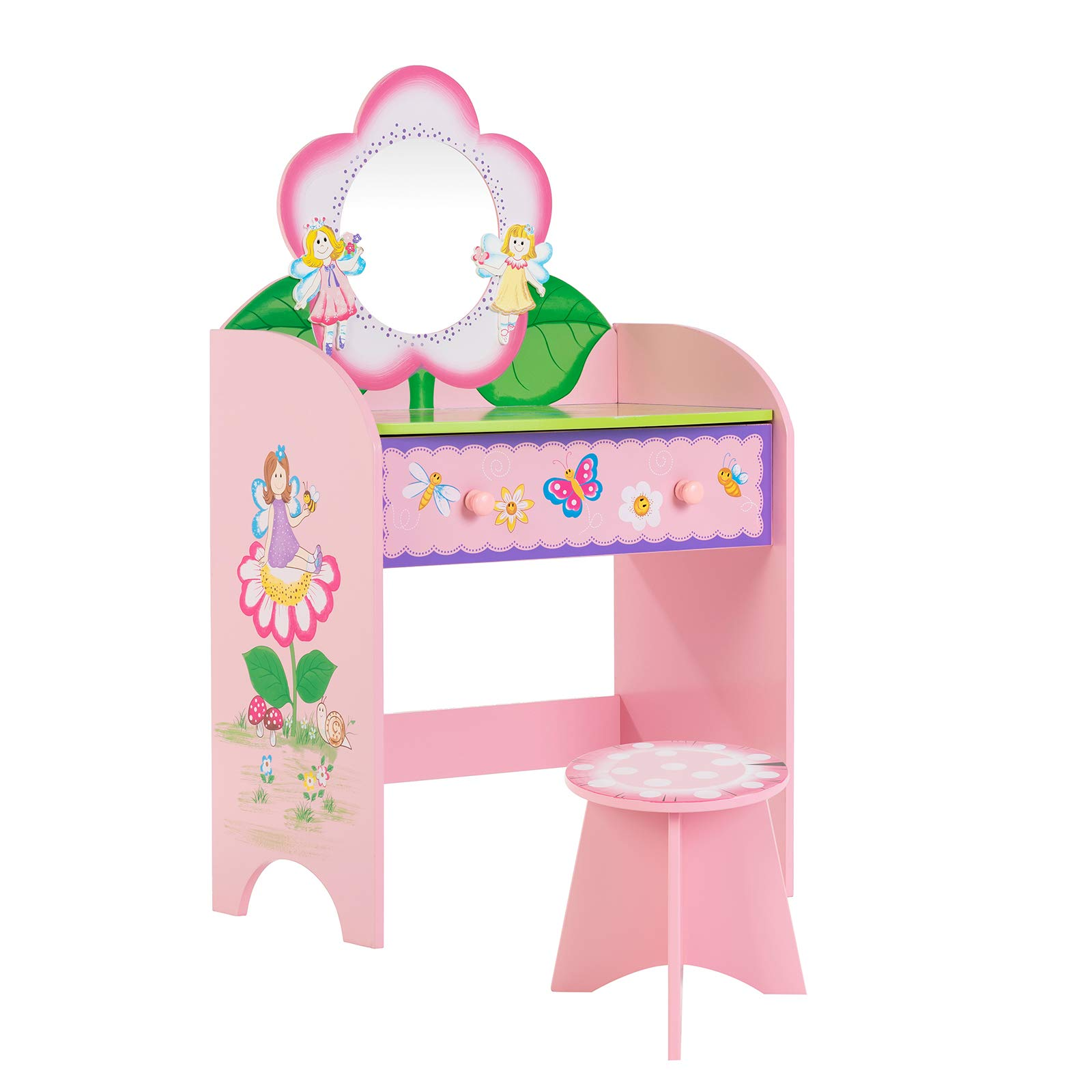 Mecor Kids Vanity Set with Stool,Little Girls Makeup Dressing Table with Large Drawer, Lead-Free Hand Painted Vanity Desk with Flower Mirror for Children Pink