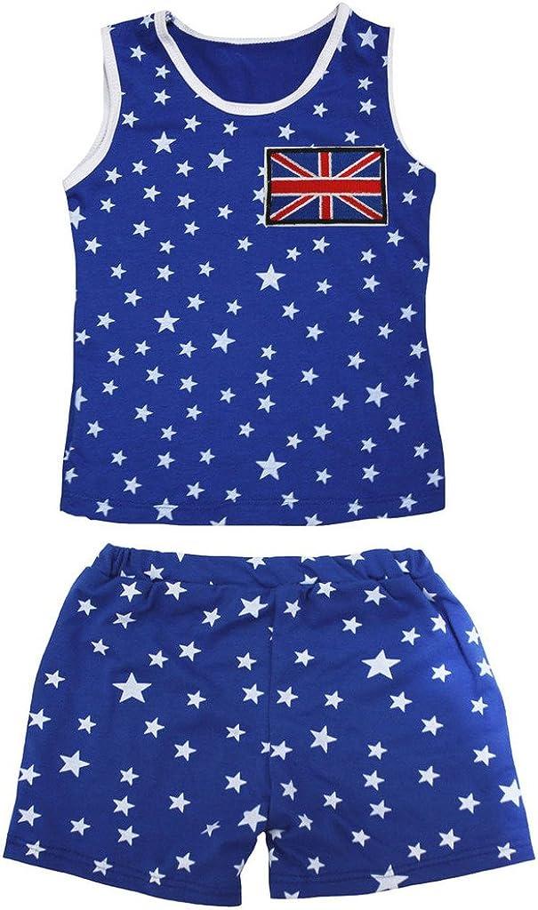Petitebella British Flag Patriotic Stars Cotton Shirt Blue Short Set 1-8y
