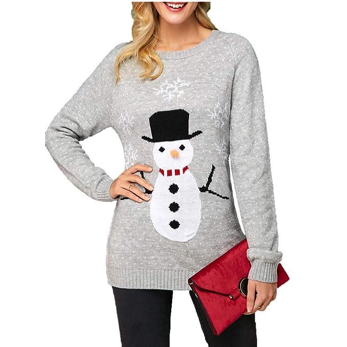 KCatsy Mujer Plus Size Pullover Jersey Top de Punto Muñeco de ...