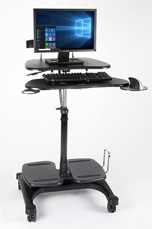 Height Adjustable Mobile Computer Standing Desk Cart Office Business