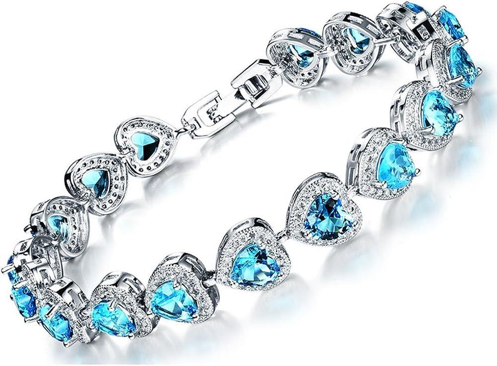 Jade Angel Fashion Cadena Bañada en Platino con Eslabones en forma de Corazón Azul Topacio Circonitas Cúbicas Pulsera de 17 cm