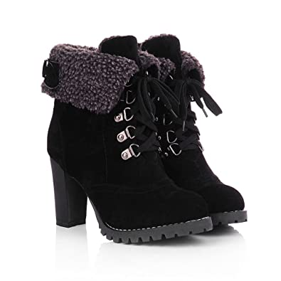 Women Winter Autumn Fashion Sexy Platform High Heels Lace Up Suede Ankle Motorcycle Martin Boots