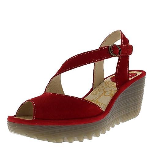 7b0299374300 Fly London Womens Yamp Summer Peep Toe Cut Out Wedge Heel Buckle Sandals -  Cupido Lipstick