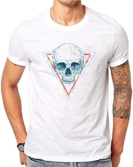 FSEATEDDS 100% algodón Camiseta Blanca Hombres Verano Moda Rock ...