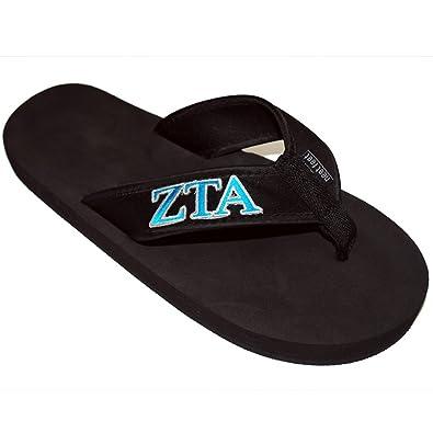 dc712cc3c99d Greekgear Zeta Tau Alpha ZTA Flip Flops Medium Black