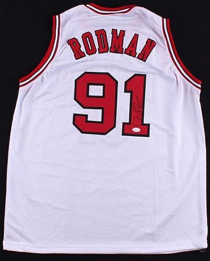 half off ecddc e2030 Dennis Rodman Autographed White Chicago Bulls Jersey - Hand ...