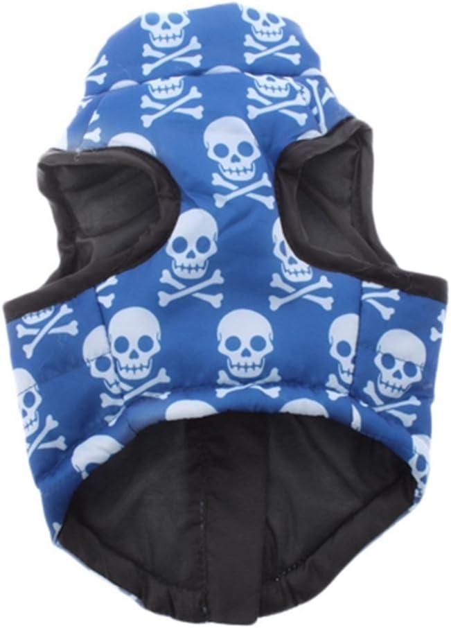 S, blau ma-on Totenkopf und gekreuzte Knochen Muster Tiny Kleine Hunde Zip Up Weste Geschirr
