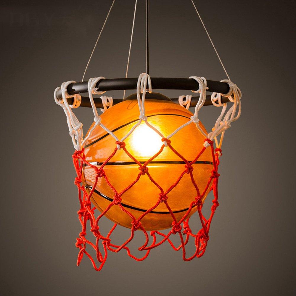 Basketball Glas Kronleuchter LOFT Amerikanischer Retro industrieller Wind Qualitäts Decken Licht Gymnastik Kunst Einzelner Kopf Eisen Seil hängende Lampe