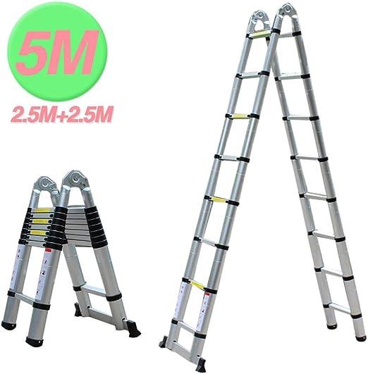 5 m Escalera telescópica – Escalera extensible Escalera escalera de aluminio multiusos Escalera escalera multifunción Escalera de aluminio – Escalera de aluminio telescópica (Soporta hasta 150 kg): Amazon.es: Bricolaje y herramientas