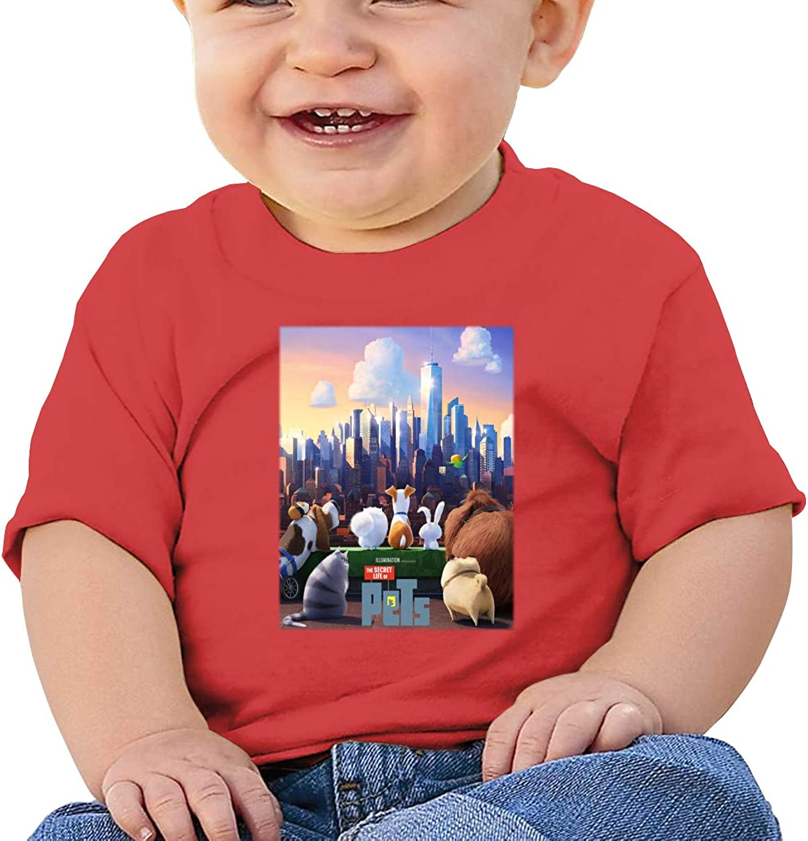 LIIREN The Secret Life of Pets Tee Customized Short-Sleeve T Shirts for Baby Boy and Baby Girl Black