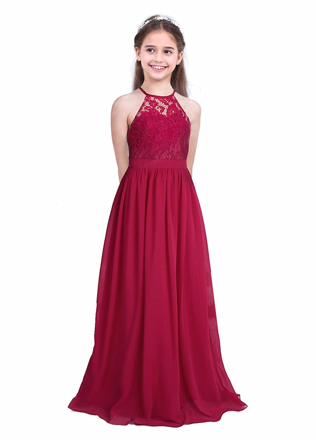 Amazon.com: FEESHOW Big Girls Halter-Neck Floral Lace Junior Bridesmaid Dress Party Wedding Long Gown: Clothing