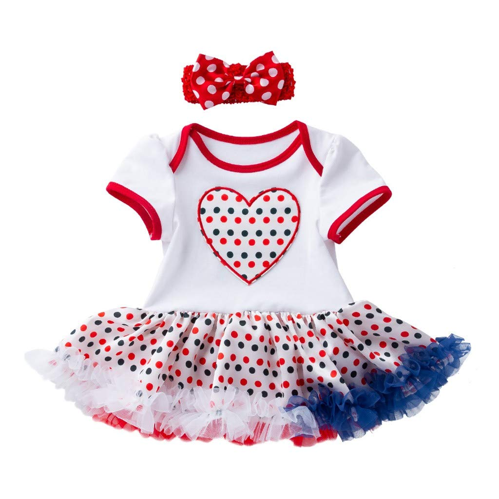 Toddler Baby Girl Outfit 4th of July Short Sleeve Wave Dot Heart Print Dress+Headbands Set