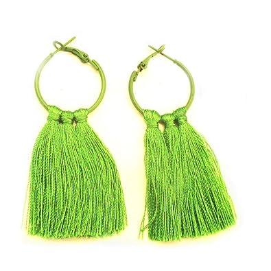 0ac1e2744743 Gemsjewellery Perrot Green Jhumki Beautiful Silk Thread Earrings Casual  Wear Jhumkas Perrot Green Trendy Earrings Jewellery