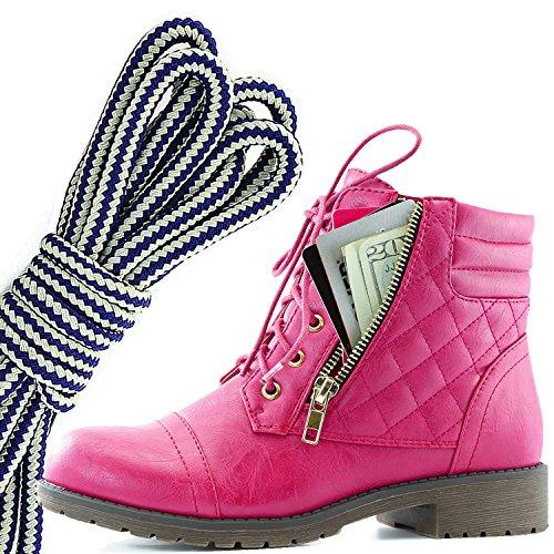 Dailyshoes Donna Militare Allacciatura Fibbia Stivali Da Combattimento Caviglia Alta Esclusiva Tasca Per Carte Di Credito, Blu Navy Bianco Hot Pink Pu