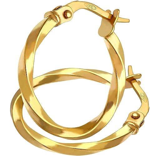 NEU kleine Creolen 375er echt Gold Ohrringe 9 Karat Diamantschliff Damen Herren