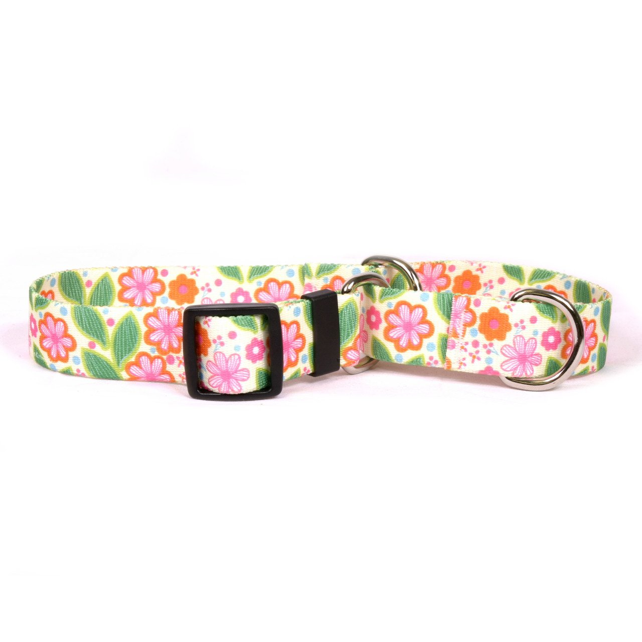 Yellow Dog Design Flower Patch Martingale Dog Collar Fits Neck 9 To 12'', X-Small/3/4