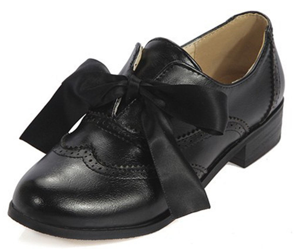 IDIFU Women's Sweet Bow Lace up Low Chunky Heel Round Toe Oxfords Shoes Black 4 B(M) US