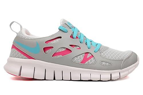 Nike Free Run 2.0 Big Kids GS Running Platinum Pink Flash (GS)