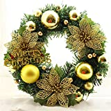 Per 30cm Christmas Wreath Pine Needles Maple Leaf Garland With Berries Balls Ribbons Bells Xmas Room Decor For Front Door Kitchen Dining Room Wall Restaurants-D