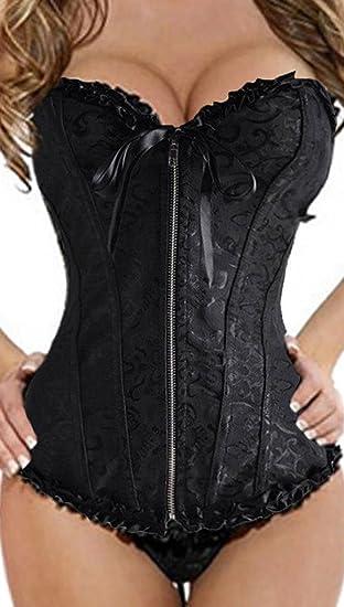 481158b0fec Focussexy Women s Lace Up Boned Overbust Corset Bustier Bodyshaper Top Plus  Size