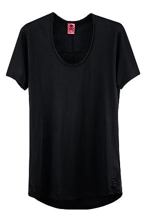 e59ac205bd09 ByTheR Men s Premium Cotton Vintage Loose Damaged Solid Summer Cool T-Shirts  Black