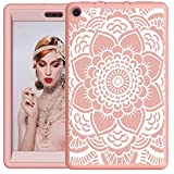 Hocase Fire HD 8 2017 Girls Case Drop Resistant Hybrid Dual Layer Protective Hard Rubber Case with Cute Flower Design for Fire HD 8 Tablet (7th Generation) - Rose Gold