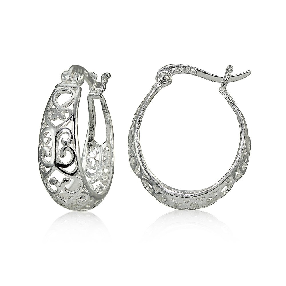 Sterling Silver High Polished Heart Filigree Oval Hoop Earrings