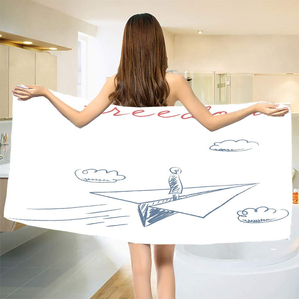 smallbeefly Adventure Bath Towel Flying Paper Plane in Hand Drawn Sketch Cartoon Style Freedom Text Clouds Customized Bath Towels Bluegrey Red White Size: W 19.5'' x L 39.14''