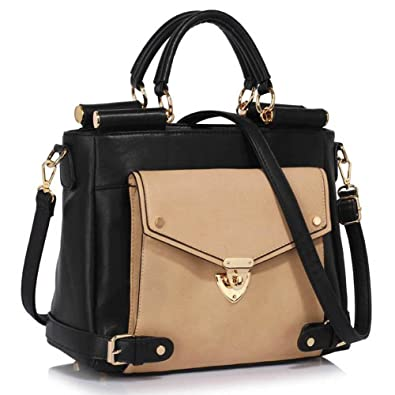 17a3f8ab255e LEESUN LONDON Ladies Faux Leather Shoulder Bag Tote Bag Satchel Bags  Handbags For Women (A - BLACK NUDE1)  Amazon.co.uk  Luggage