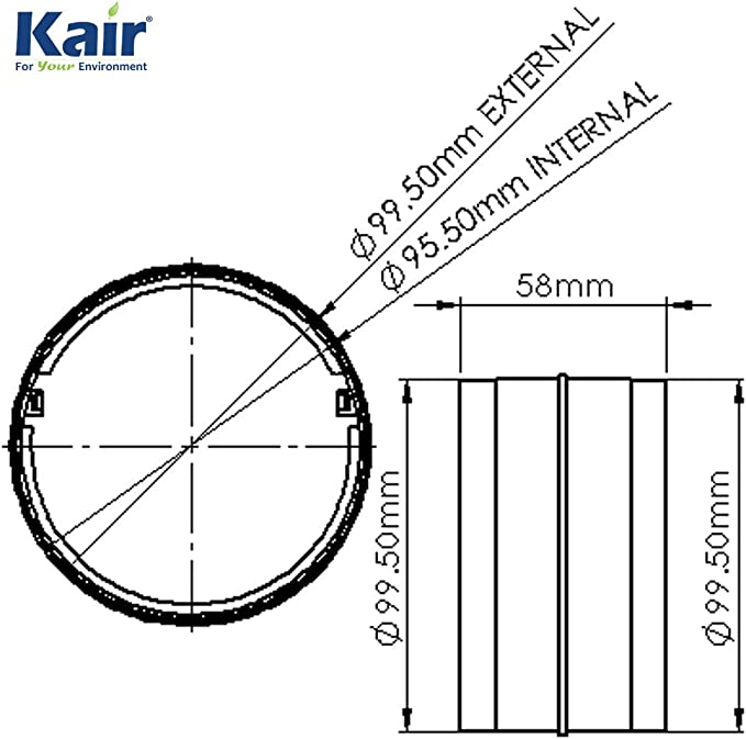Kair - Conector redondo de 100 mm a 4 pulgadas para conectar tubería de conducto o manguera flexible: Amazon.es: Bricolaje y herramientas