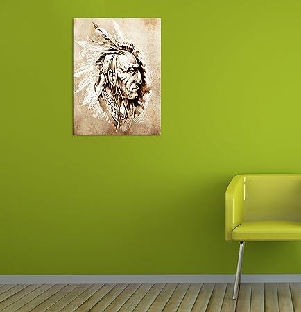 Bilderdepot24 Cuadros en Lienzo Indios II, Tattoo Art 60x80 cm - Enmarcado Listo Bastidor Imagen. Directamente Desde el Fabricante: Amazon.es: Hogar