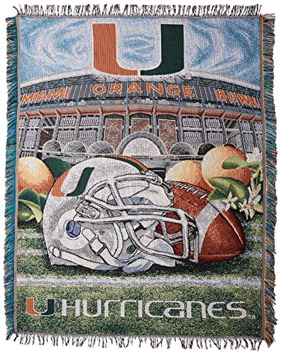 The Northwest Company Officially Licensed NCAA Miami Hurricanes Home Field Advantage Woven Tapestry Throw Blanket, 48