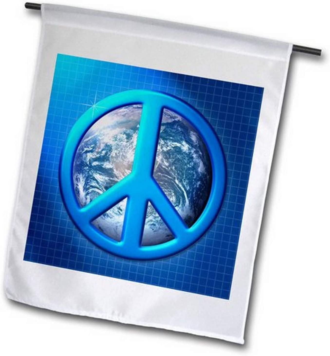 3dRose fl_18146_2 Peace on Earth Blue Peace Sign Over The Planet Earth Garden Flag, 18 by 27