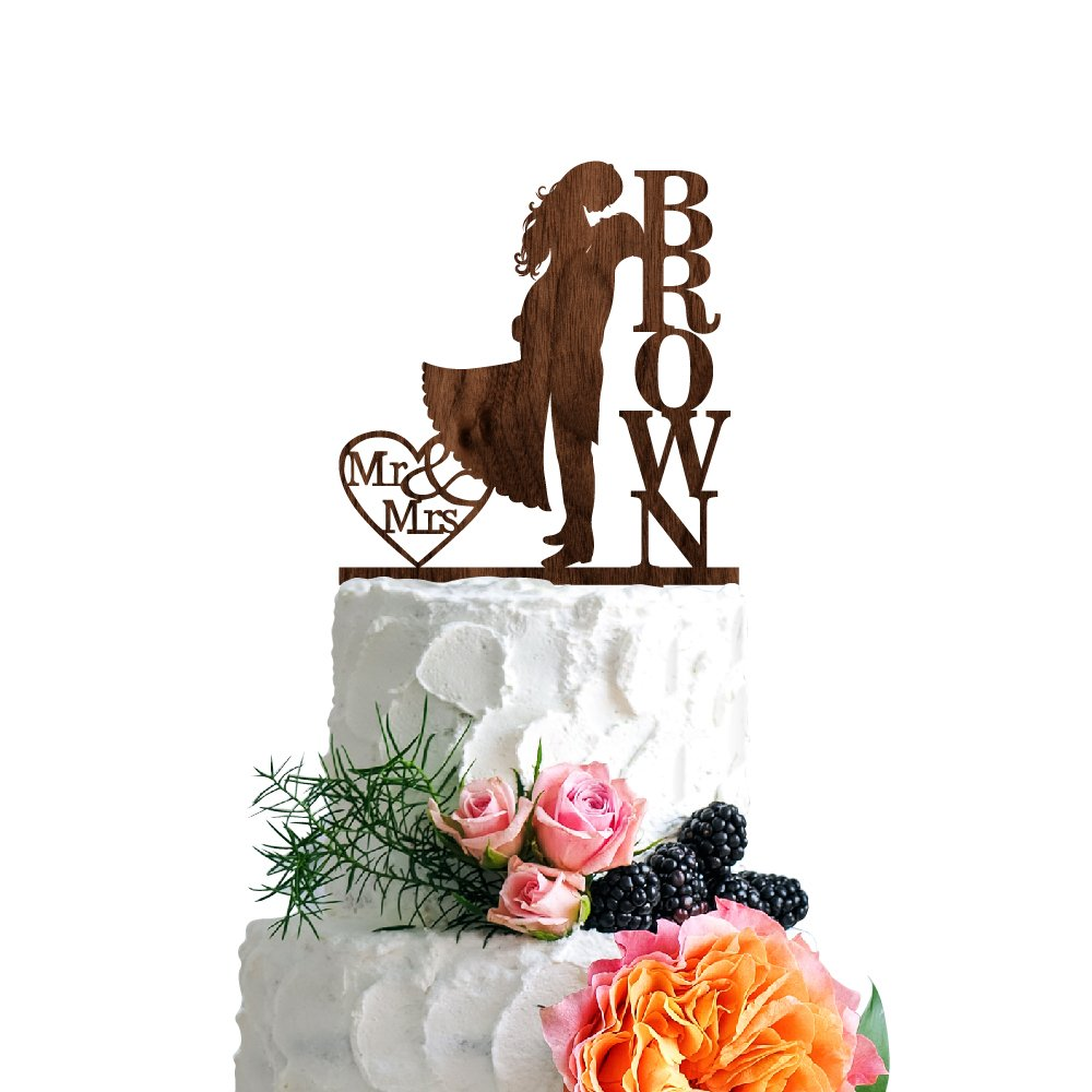 P Lab Personalized Cake Topper Mr. Mrs. Last Name Custom Romantic Hug Wedding Cake Topper Rustic Wood Decoration Keepsake Engagement Favors for Special Event Walnut Wood by Personalization Lab (Image #1)