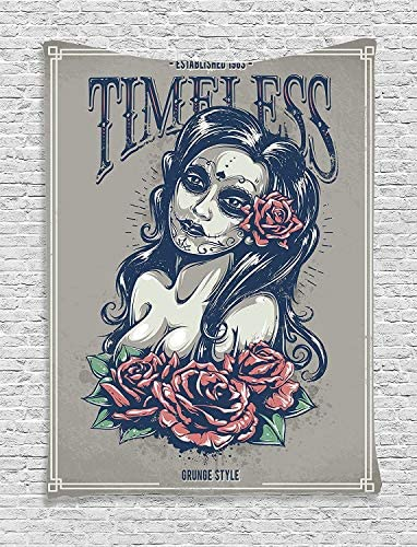 Ambesonne Skull Tapestry, Day of The Dead Girl with Tattoos Roses Lady Witch Woman Sign Art Print, Wall Hanging for Bedroom Living Room Dorm Decor, 40 X 60 , Night Blue