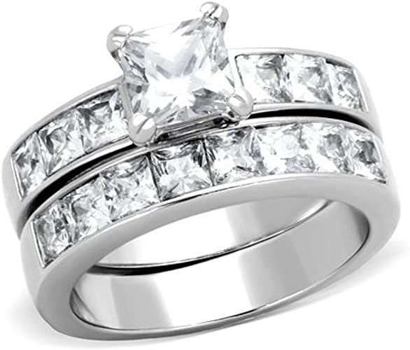 3.75 Ct Princess Cut AAA CZ Stainless Steel Wedding Ring Set Women/'s Size 5-10