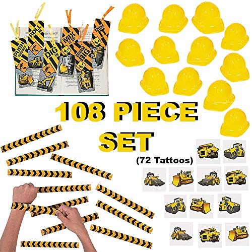 Construction Party Favors for 12 Kids | 108 Piece Construction Party Supplies Bulk Pack | Birthday Party Goody Bag -