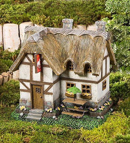 Plow & Hearth Miniature Fairy Garden Solar Light Up Tavern House with Thatched Roof Detail 10.25 L x 8.25 W x 10.25 ()