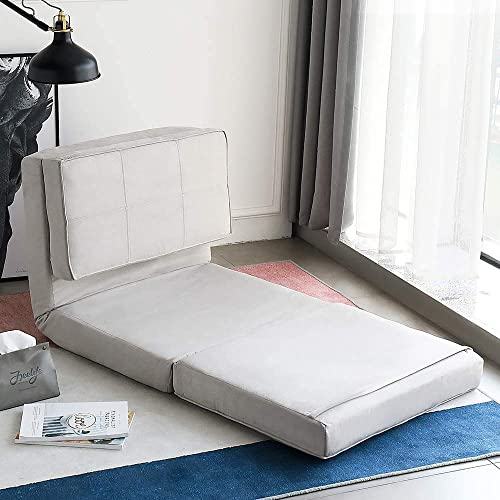 oneinmil Futon Furniture Sleeper Sofa Folding Memory Foam Bed Floor Couch Guest Chaise Lounge Convertible Upholstered Chair Grey