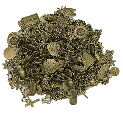 Bronze Charms DIY Antique Charms - EyreLife Mixed Vintage Charms Pendants Spacers Beads Rings Buttons Findings Jewelry Making Supplies for Crafting, Bracelet Necklace, Accessory (120 Pieces, Assorted)