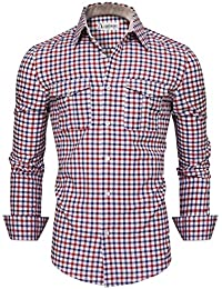 Mens Classic Chest Pockets Checkered Long Sleeve Button Down Shirt