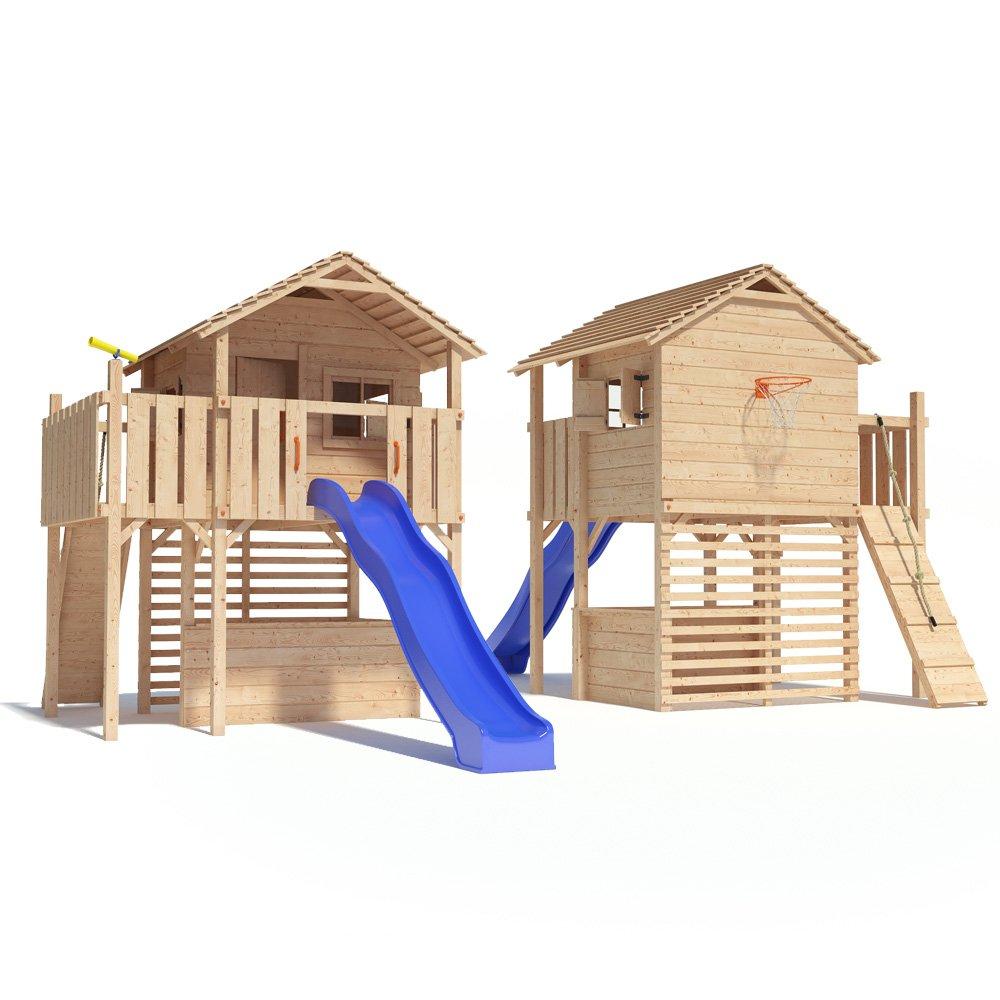 maximo spielturm baumhaus stelzenhaus mit rutsche kletterrampe und basketballkorb auf 1 50m. Black Bedroom Furniture Sets. Home Design Ideas