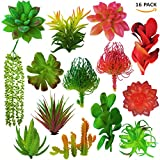 Cheap Fake Plants Artificial Succulent Decoration – Faux Unpotted plantas artificiales decorativas, string of pearls cactus, decorative desk plant, shelf decor, small decorations for living room (set of 16)