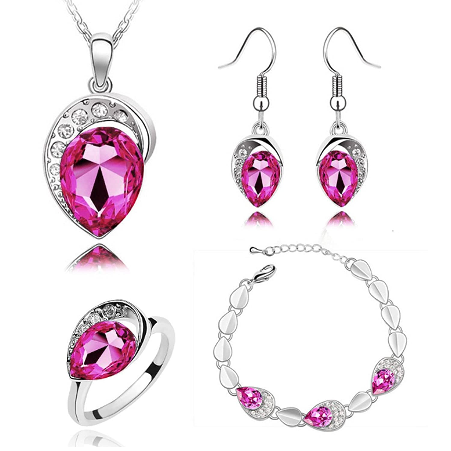 MAFMO Women Water Drop Jewelry Set Party Wedding Necklace Bracelet Earrings Ring