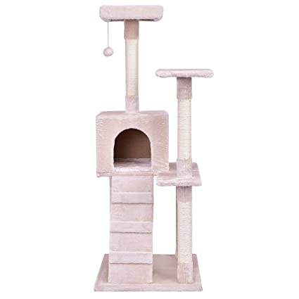 dd9dea24f5ea Image Unavailable. Image not available for. Color: ReunionG 52'' Cat Tree  Pet Cat Furniture Stury 3 Level Kitty Kitten Tower with