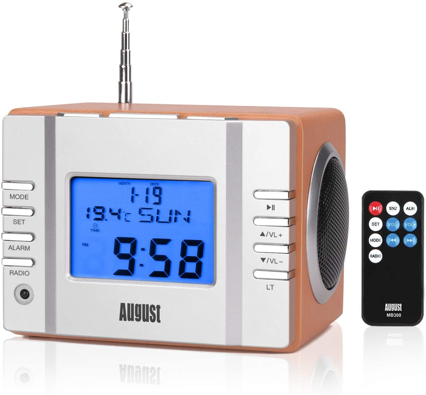 August MB300 Radiodespertadores Sistema Estéreo con Altavoz - FM Reloj de Radio con Función Alarma / Sleep Timer / Termómetro - Radio Despertador Leer MP3/ Tarjeta SD / Jack 3.5mm - Telecomando