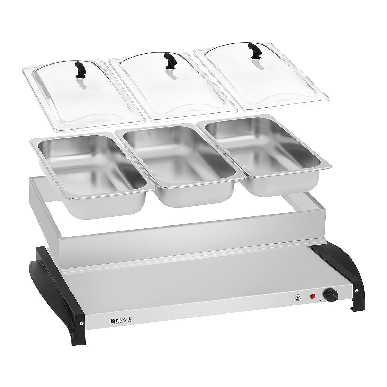 Royal Catering RCHP-400/3 Calienta platos Electrico Calentador Buffet (3 x 2 L, 400 W, 45-85 °C, Cubiertas de Vidrio Acrílico, Acero Inoxidable): Amazon.es: ...